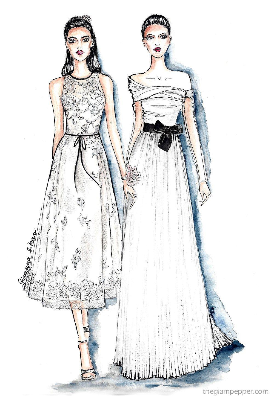Handmade Fashion sketch, moda Disegna di eleganti donna