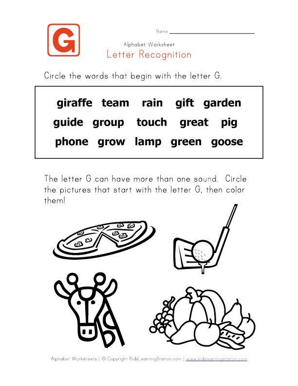 words that start with the letter g children 39 s worksheets letter recognition g words letter g. Black Bedroom Furniture Sets. Home Design Ideas