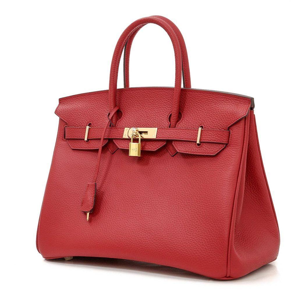 Macton YesMacton European and American Classic Padlock Genuine Leather Top  Handle Handbags Mc-1329 (Gold Hardware) 00ec99574bff9