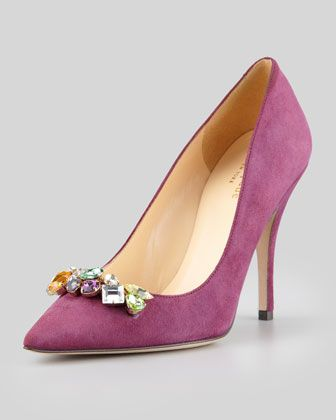 licorice jeweled suede pointed-toe pump, amethyst by kate spade new york at Neiman Marcus.