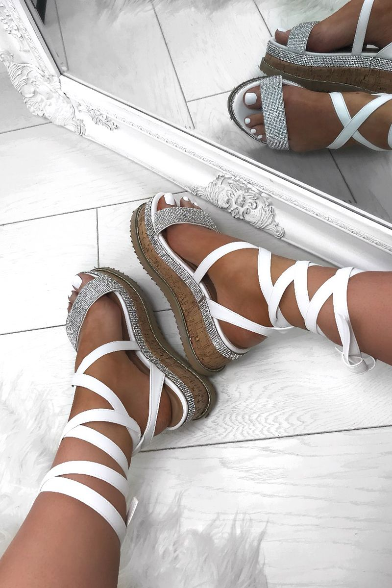 610840930865 Take Your Holiday Slay From Zero To Hero With Our Red Hot New Flatforms  ESME White Diamanté Flatforms  LavishLuxe  Espadrilles  LuxedUp  LLClique   Love ...