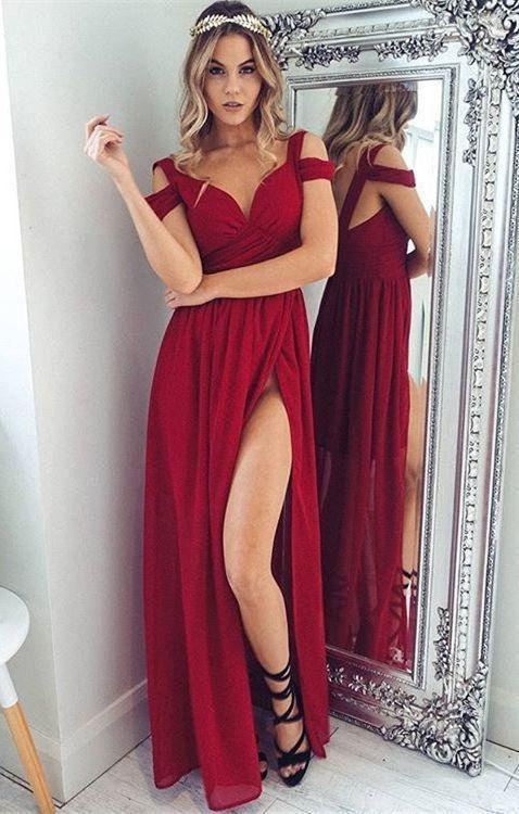 7f92bd0d29 ... gasa delantera larga dividida simple vestidos de baile baratos. vestido  de graduación rojo con escote corazón