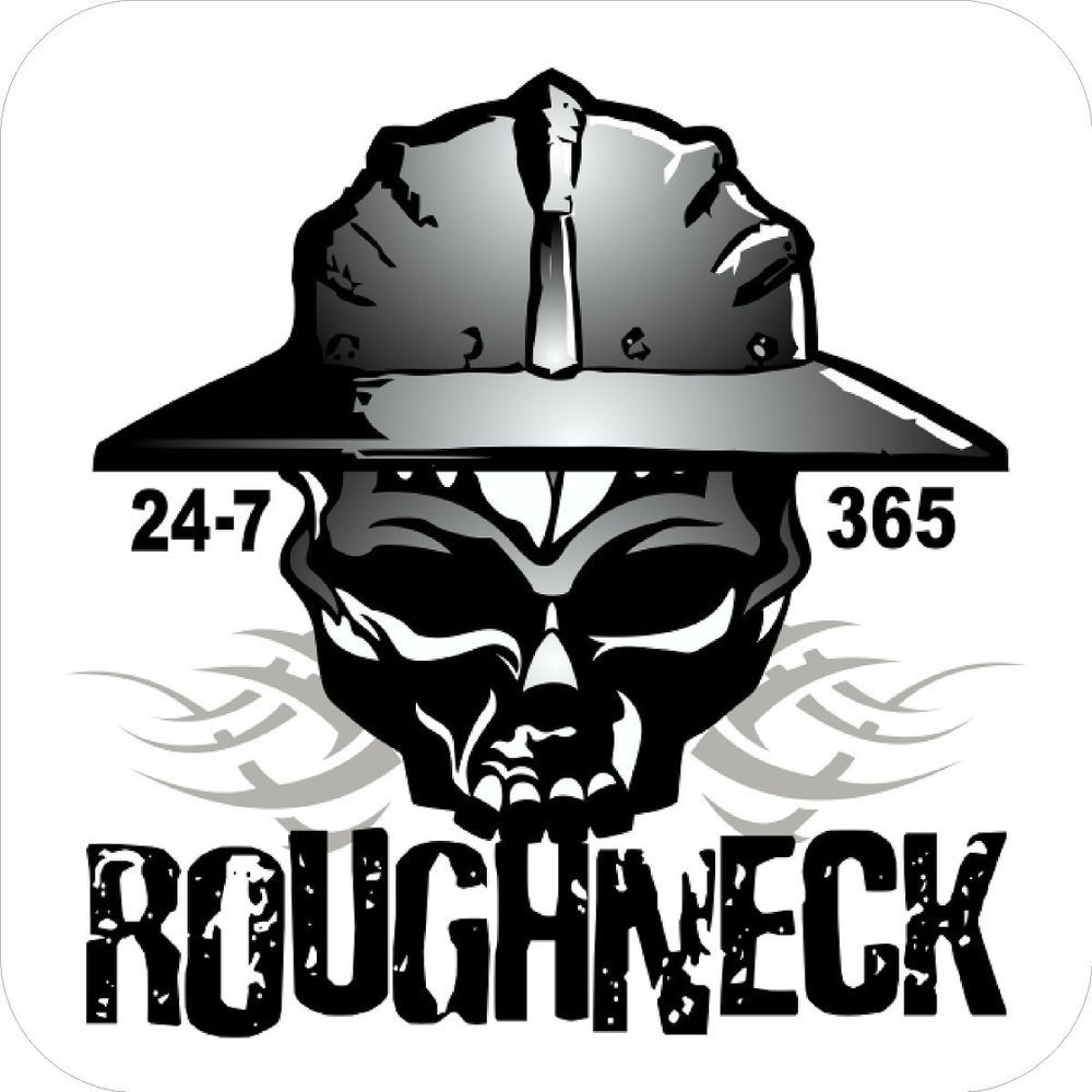 3 roughneck 24 7 365 hard hat stickers designed by earl ferguson h570 oilfield rough and. Black Bedroom Furniture Sets. Home Design Ideas
