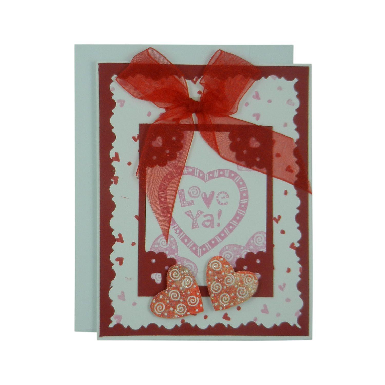 Valentines Day Greeting Card Handmade Recycled Love Ya Hearts