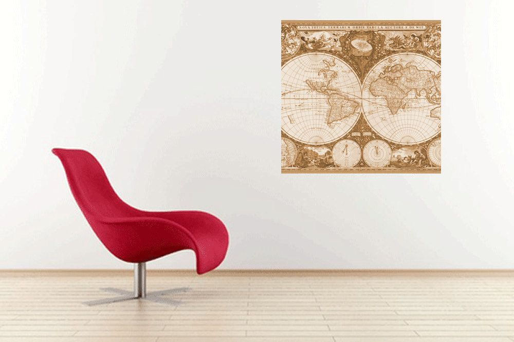 Map wall decal brown old world map adhesive wall decal 20x20 large map wall decal brown old world map adhesive wall decal 20x20 large wall hanging gumiabroncs Images