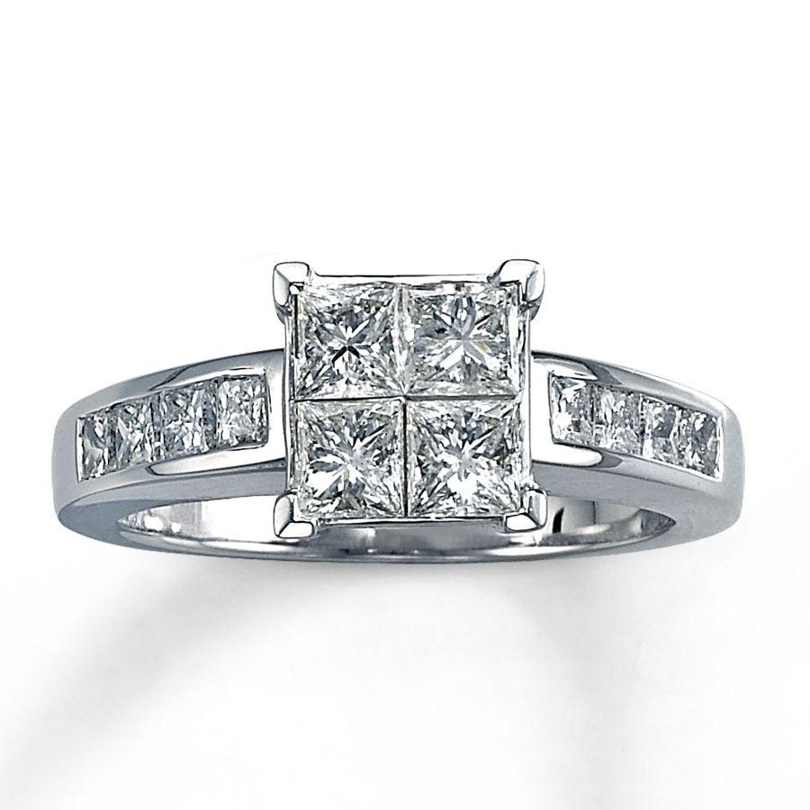 princess cut quad diamond engagement rings | ring | pinterest
