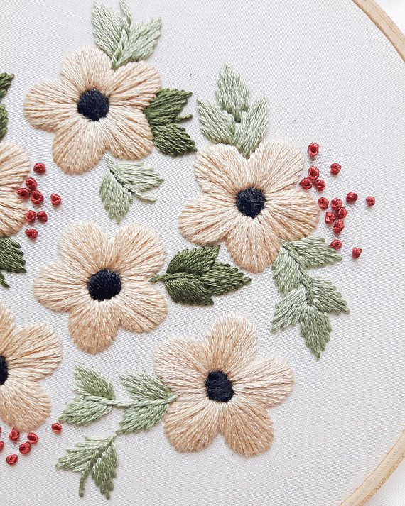 Summer Flowers Embroidery Pattern, PDF Pattern, Flower Hand Embroidery Pattern, Instant Download PDF, Printable Stitching Pattern #embroiderypatternsbeginner