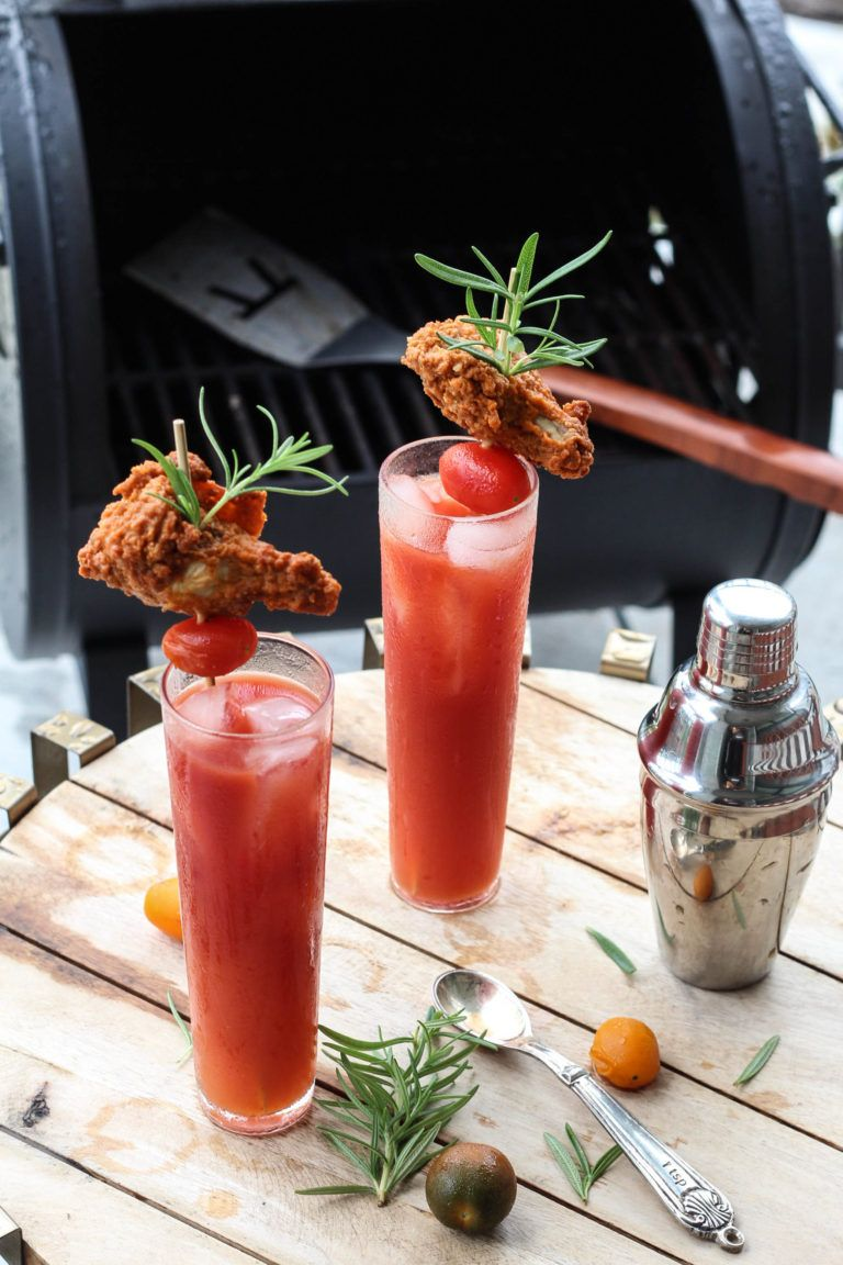 Sriracha Bloody Mary with hot wing skewers