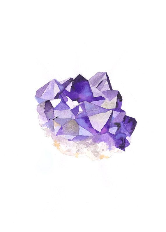 Amethyst Original Watercolor Painting By Songdancedesign On Etsy