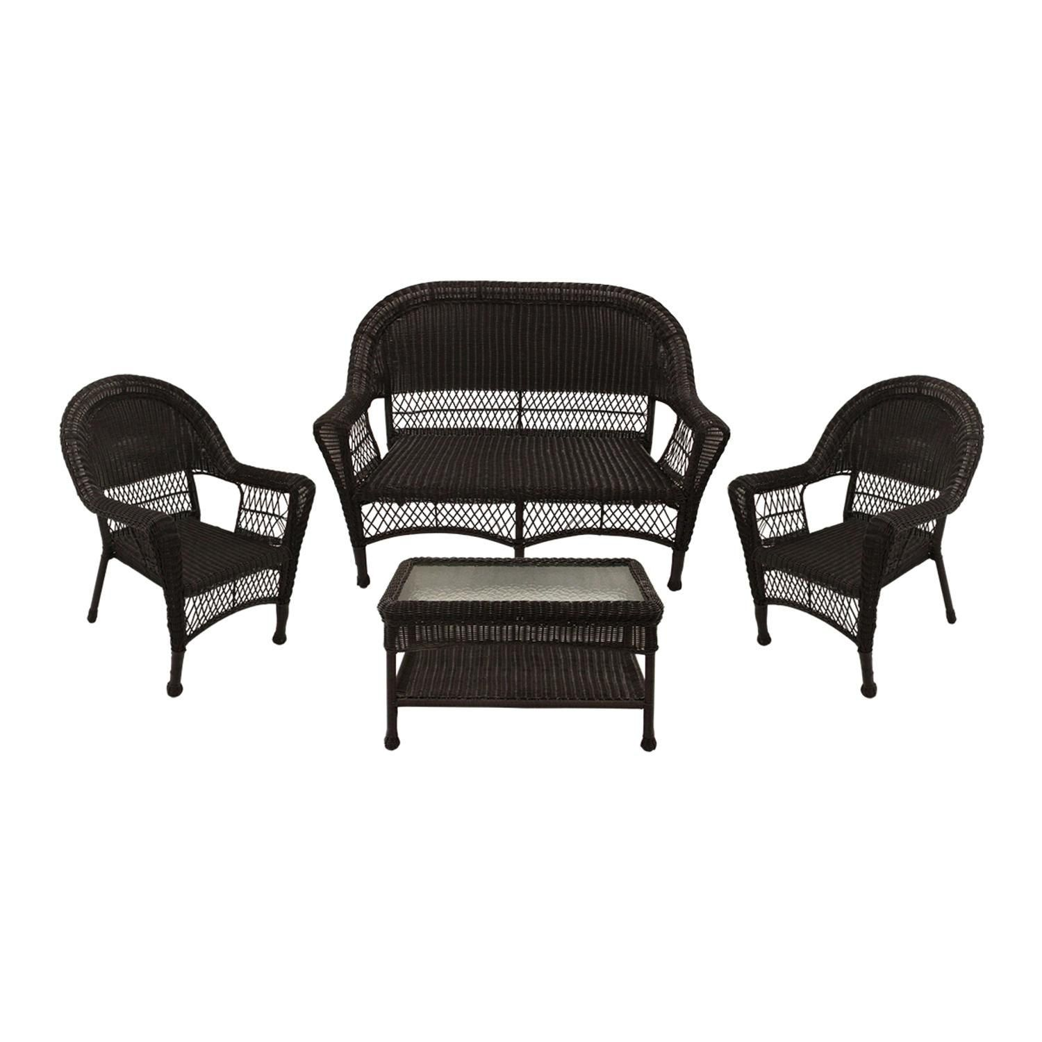 4 Piece Brown Resin Wicker Patio Furniture Set 2 Chairs