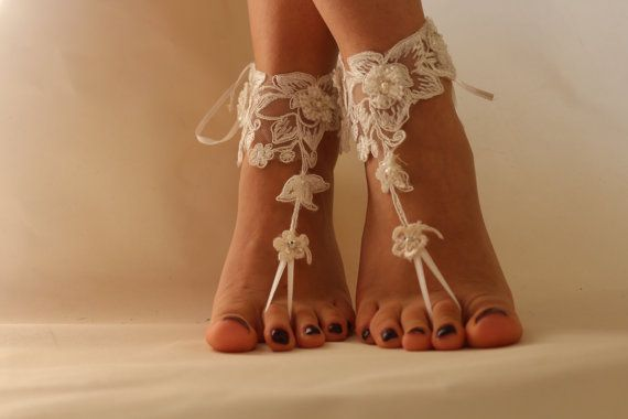 FREE SHİP Beach Wedding Barefoot SandalsLace by byPassion on Etsy