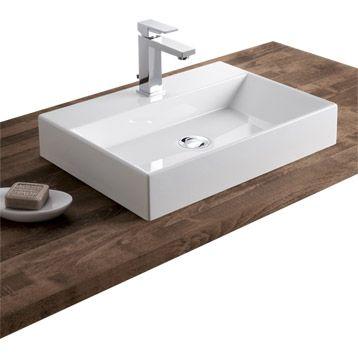 Vasque à poser Solo en résine de synthèse, blanc Leroy Merlin - meuble pour wc suspendu leroy merlin