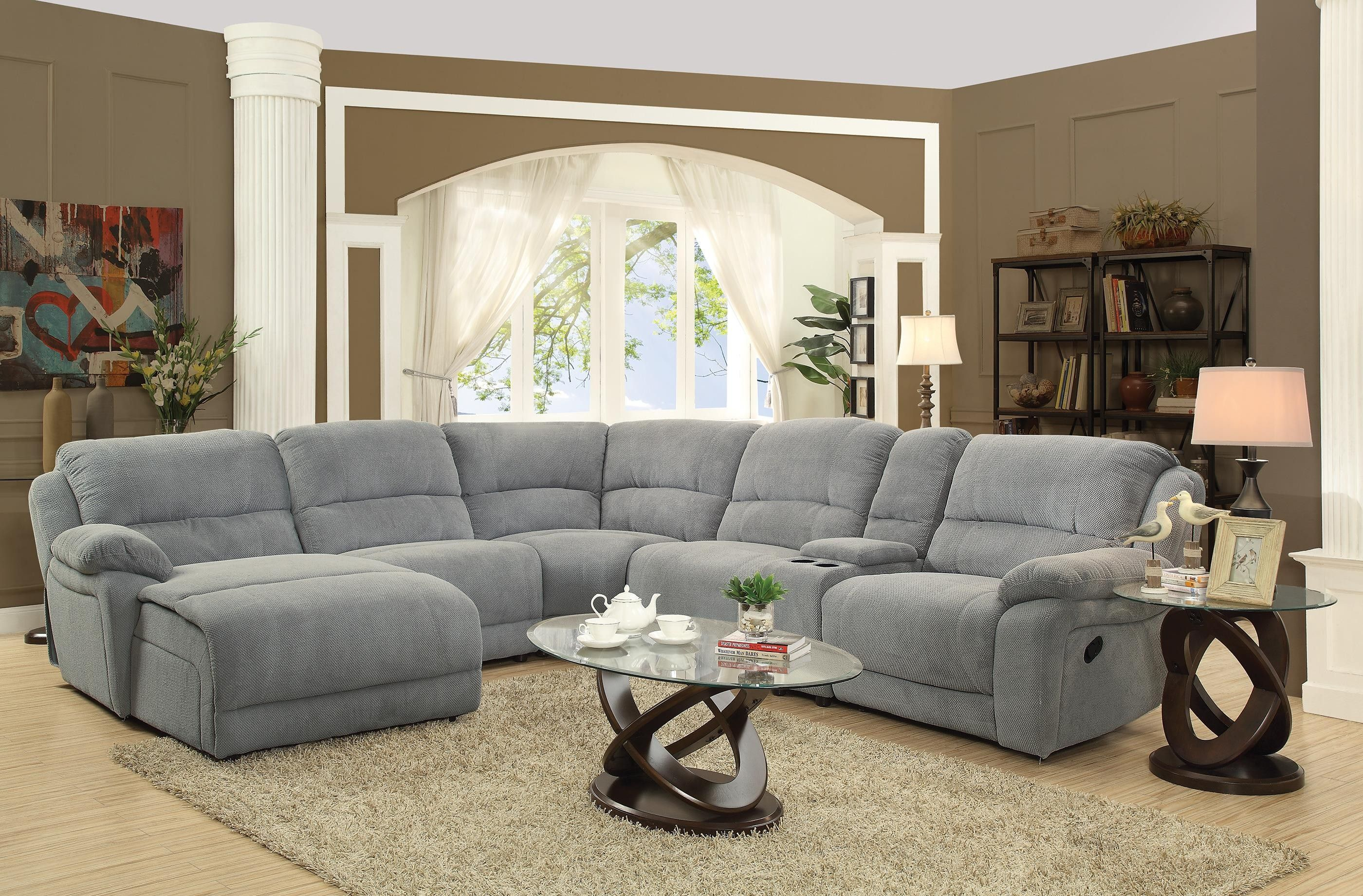 Coaster 600017 Mackenzie Silver Tone 6 Piece Reclining Sectional Sofa Main Image Reclining Sectional Sectional Sofa With Recliner Microfiber Sectional Sofa