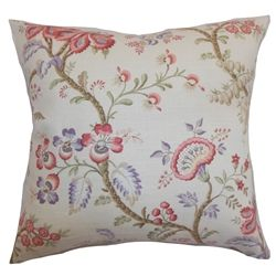 """Spruce up your home by adding this vibrant and elegant throw pillow. This floral accent pillow comes with decadent pastel colors: pink, lilac, green and white. This romantic square pillow will instantly liven up your living room or bedroom. The blooming floral prints provides a homey vibe. This 18"""" pillow is made from a blend of fabrics: 55% linen and 45% rayon. $55.00 #floralpillow #florals #tosspillow #interiorstyling"""