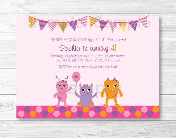 Girl Monster Birthday Invitation / Baby by LittlePrintsParties, $12.00