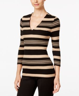 Inc International Concepts Striped Rib-Knit Top, Only at Macy's - Gold XXL