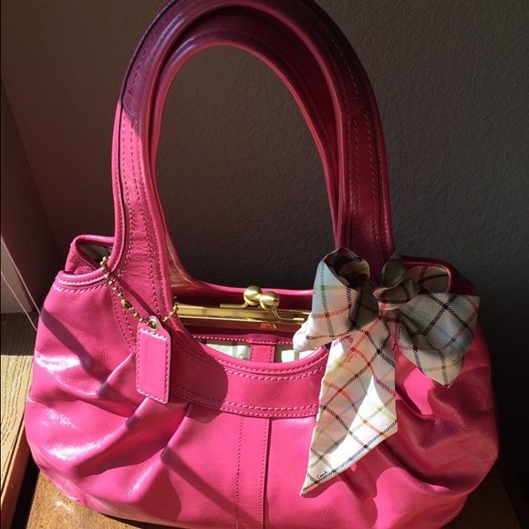 679ef6337 Pink patent coach ergo pleated frame satchel Punch pink coach 12520 ergo  pleated frames satchel. Tattersall liking. Sold out. Minimal signs of wear.