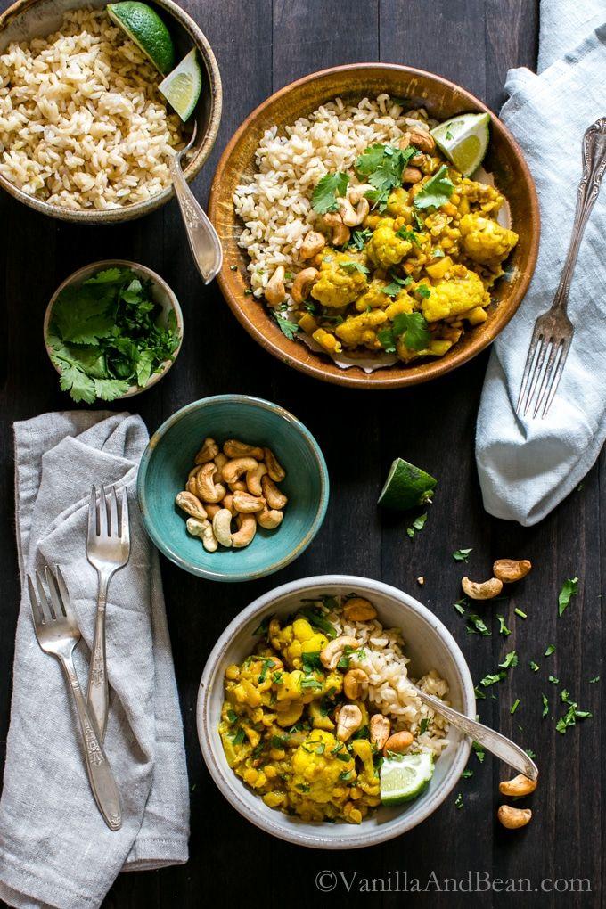Chana Dal With Cauliflower Cashews And Coconut Milk Vegan