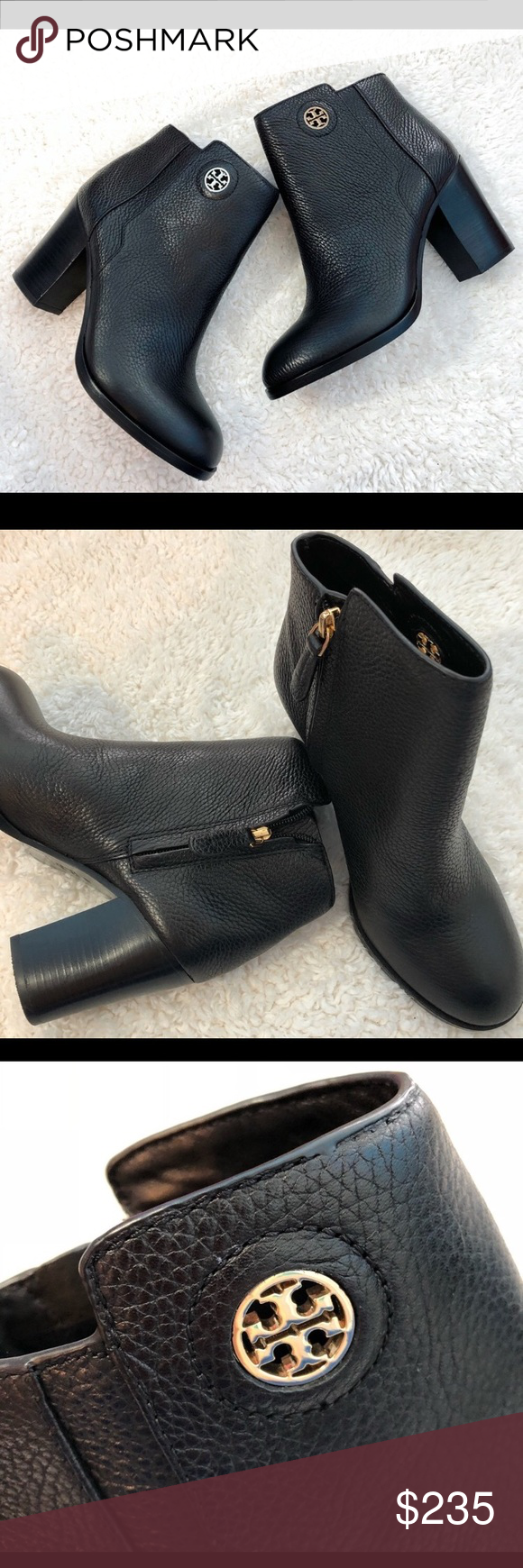 1361d01241dc Tory Burch Junction Bootie - Black Pebbled Leather Tory Burch Junction  bootie in Black Pebbled leather