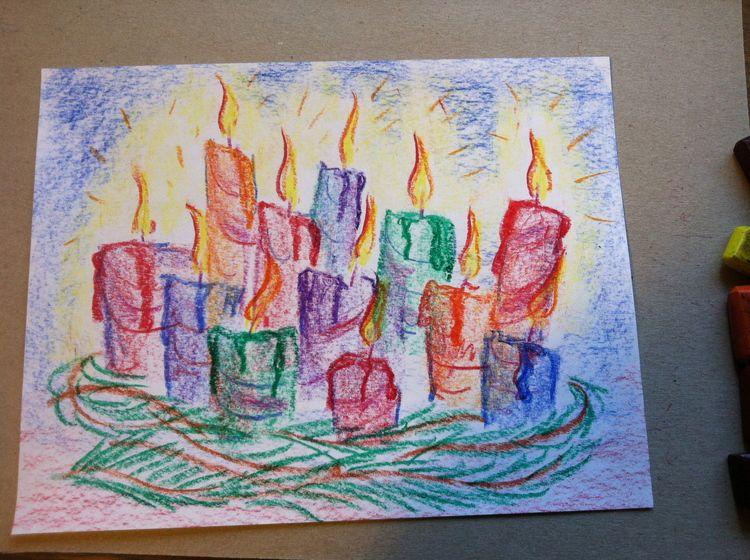 Holiday Candles Chalk Block Crayon Tutorial Click Image To