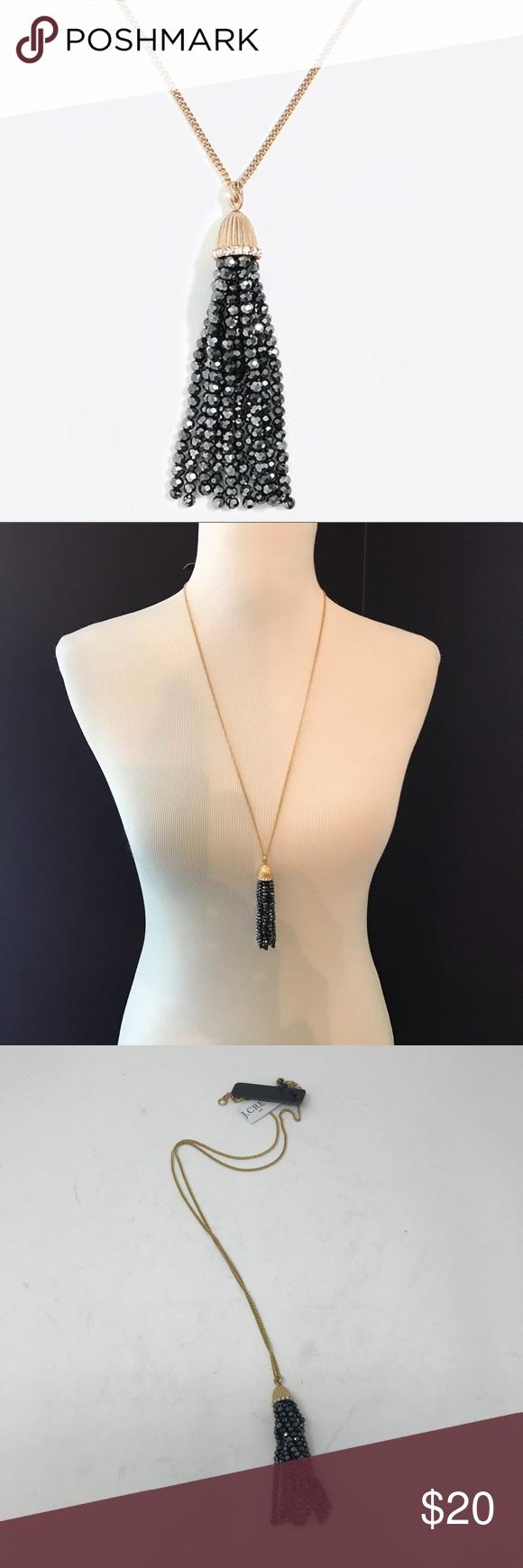 Nwt j crew tassle beaded pendant necklace nwt steel chain