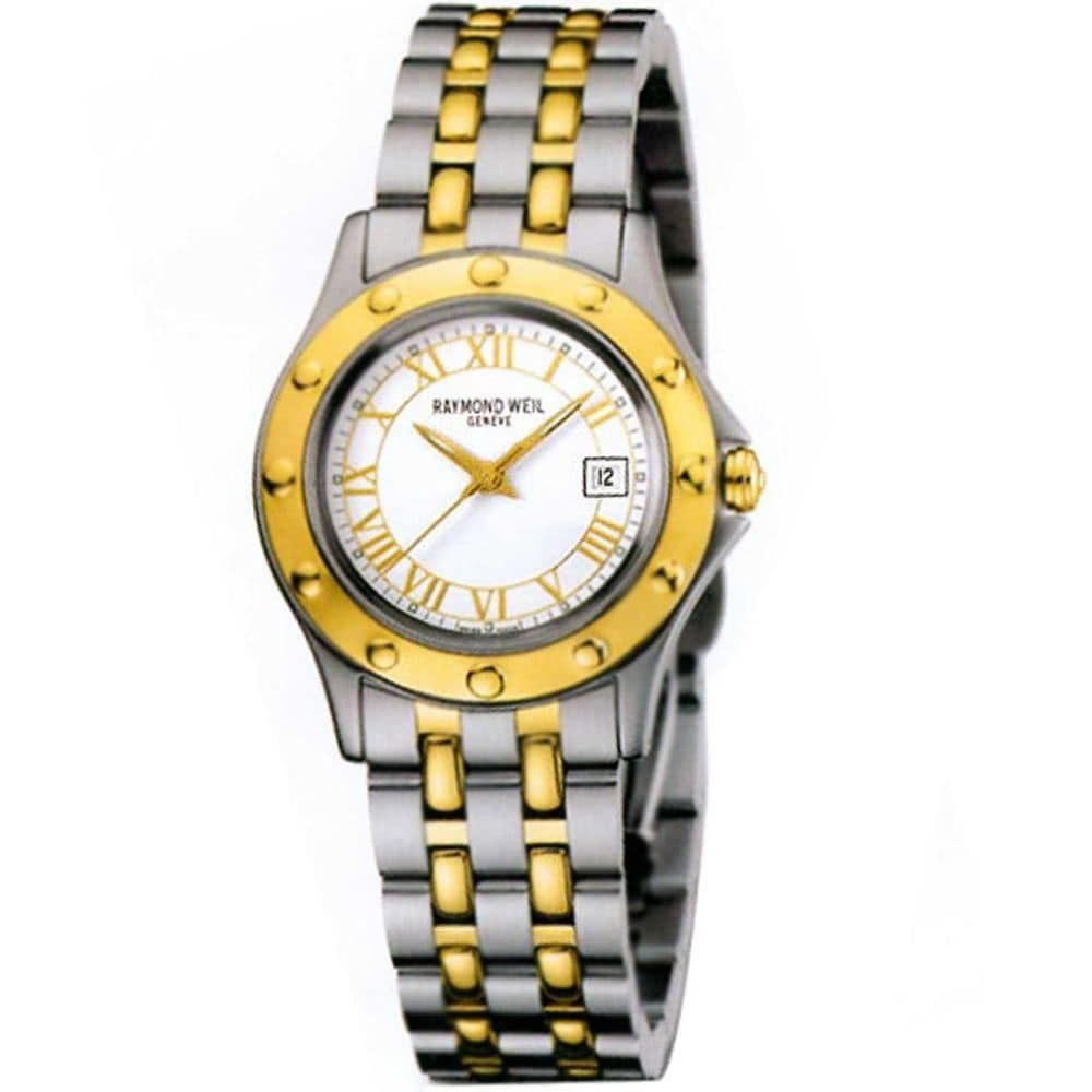Exceptional quality, diverse and luxurious, Raymond Weil watches offer stunning aesthetics as well as precise function. This women's watch from the Tango collection features a two-tone stainless steel bracelet and white dial. Case: Stainless steel Caseback: Stainless steel, snap-down Bezel: Gold tone stainless steel Dial: White Hands: Gold-tone Markers: Gold-tone Roman numerals Calendar: Date display appears at the 3 o'clock position Bracelet: Two-Tone stainless steel links Clasp: Deployment Cry