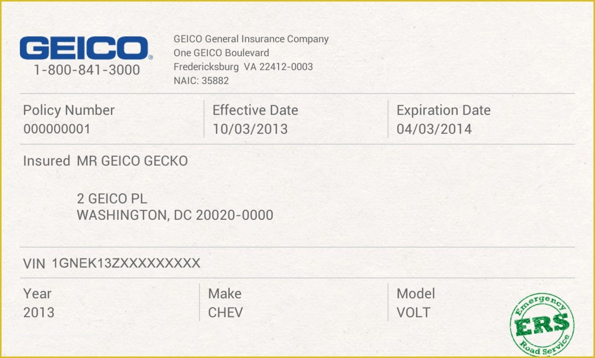 012 Company Car Policy Template Free Auto Insurance Id Card