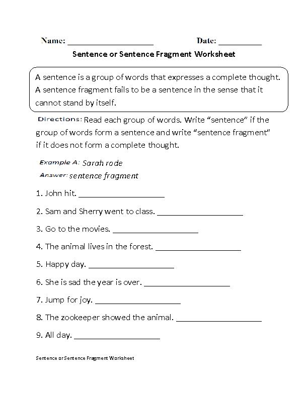 Sentence or Fragment Worksheet Beginner Education – Sentence Worksheets