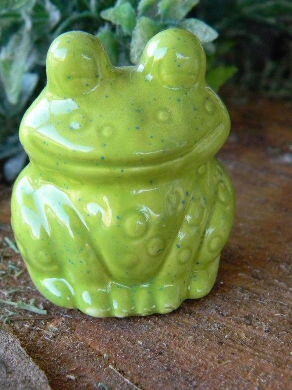 FROG Glazed Bright Green  Ceramic by EnchantdMushroomLand on Etsy