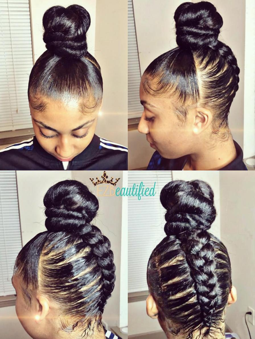 Creative Braided Bun Via Ezbeautified Black Hair Information Natural Hair Styles Hair Styles Thick Hair Styles