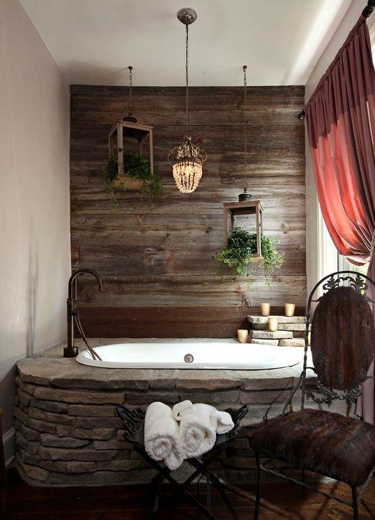 Badezimmer Interior Mit Holz Und Naturstein
