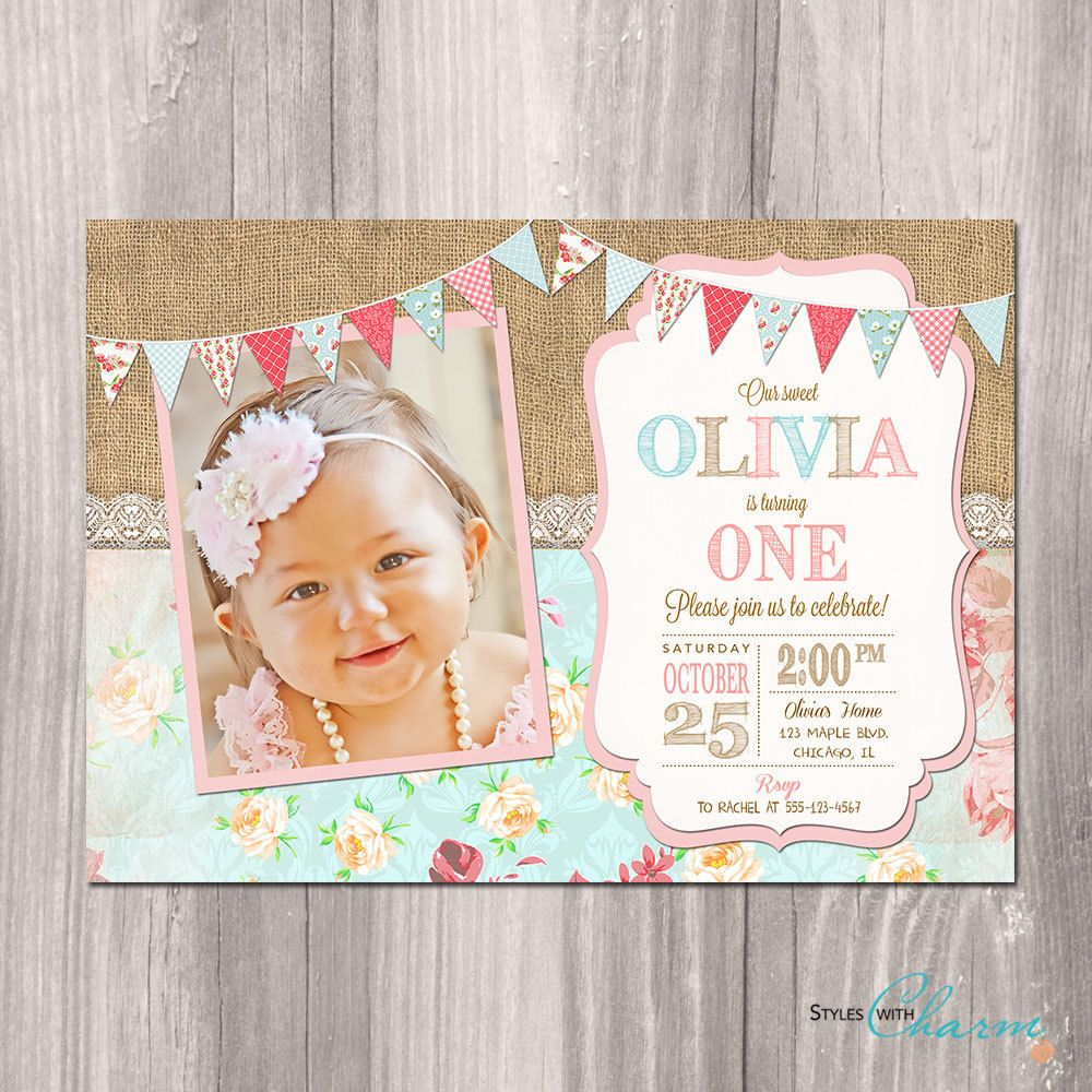 Shabby Chic Birthday Invitation Girl First Birthday Invitation – First Birthday Printable Invitations