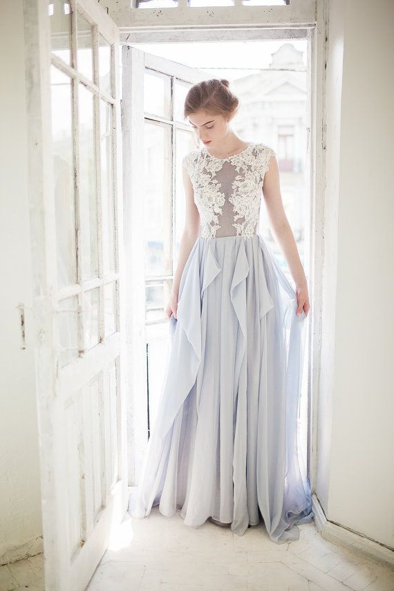 Gray wedding dress // Iris / Blue grey silk wedding dress, lace ...