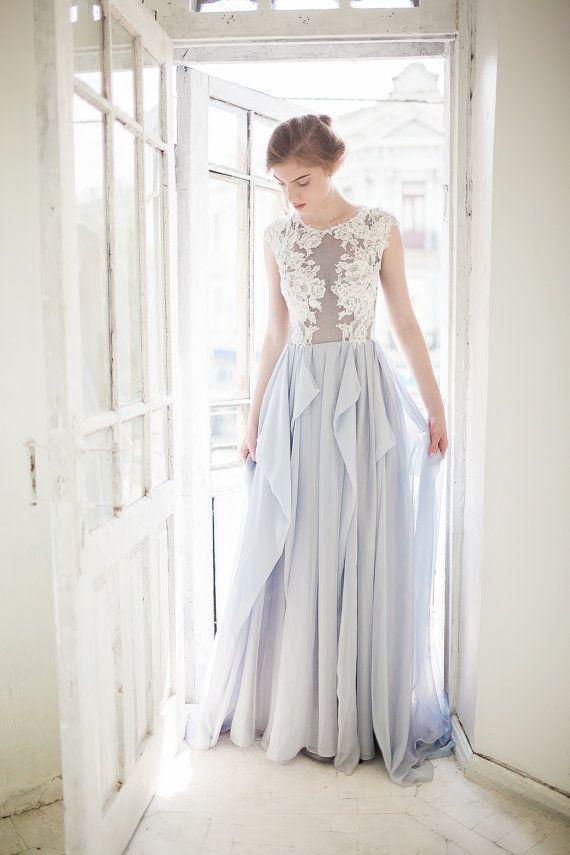 620fd305574 Sample sale  Gray wedding dress  Iris  Blue grey silk wedding dress ...