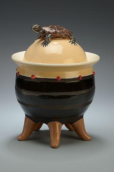 Red Eared Slider Lidded Urn On 5 Curled Legs By Lisa Scroggins Ceramic Vessel Studio Sale Available At Www Artfulhom Ceramics Ceramic Artists Ceramic Vessel