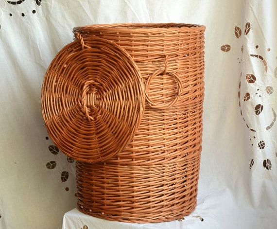 Large Wicker Laundry Basket Round Storage Basket With Lid Handwoven Laundry Basket With Lid Round Hamper Wicker