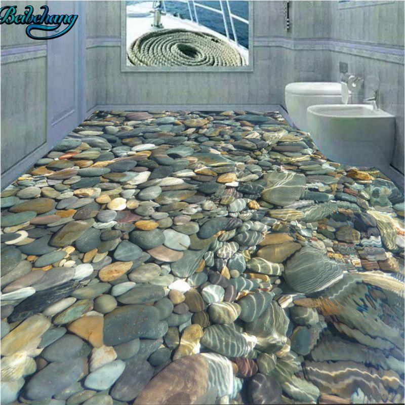 Stunning Shower Floor Using Sliced Sea Green And White Pebble Tile