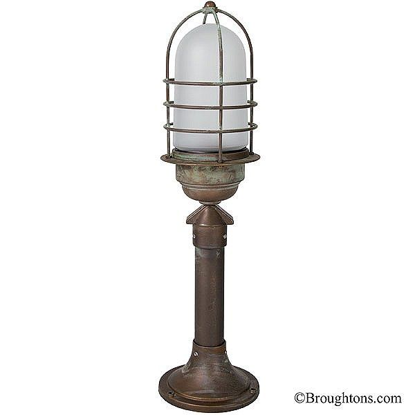 Eboli Small Post Light Aged Copper With Opal Glass