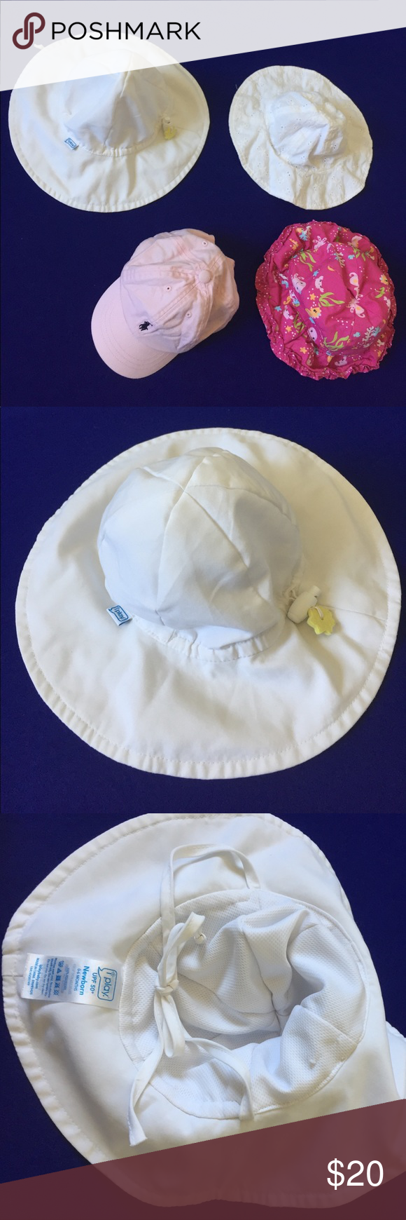 Lot of 5 Sun Hats for Baby Infant Girl Newborn The white iPlay hat is UPF  50+ 5ca7ec3b5127