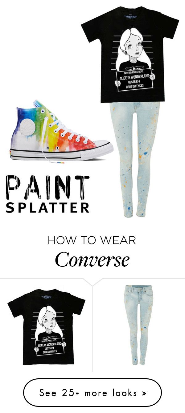 """""""72"""" by lisegi on Polyvore featuring Polo Ralph Lauren, Disney, Converse and paintsplatter"""