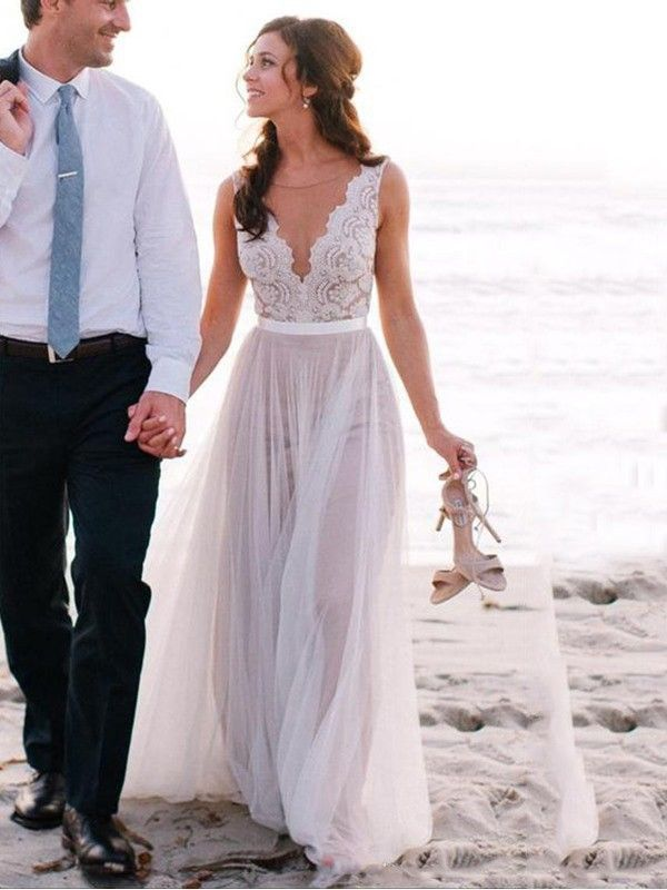 829c3decf7089 Fashion A-Line Princess Floor-Length Sleeveless Scoop Lace Tulle Wedding  Dresses - JennyProm
