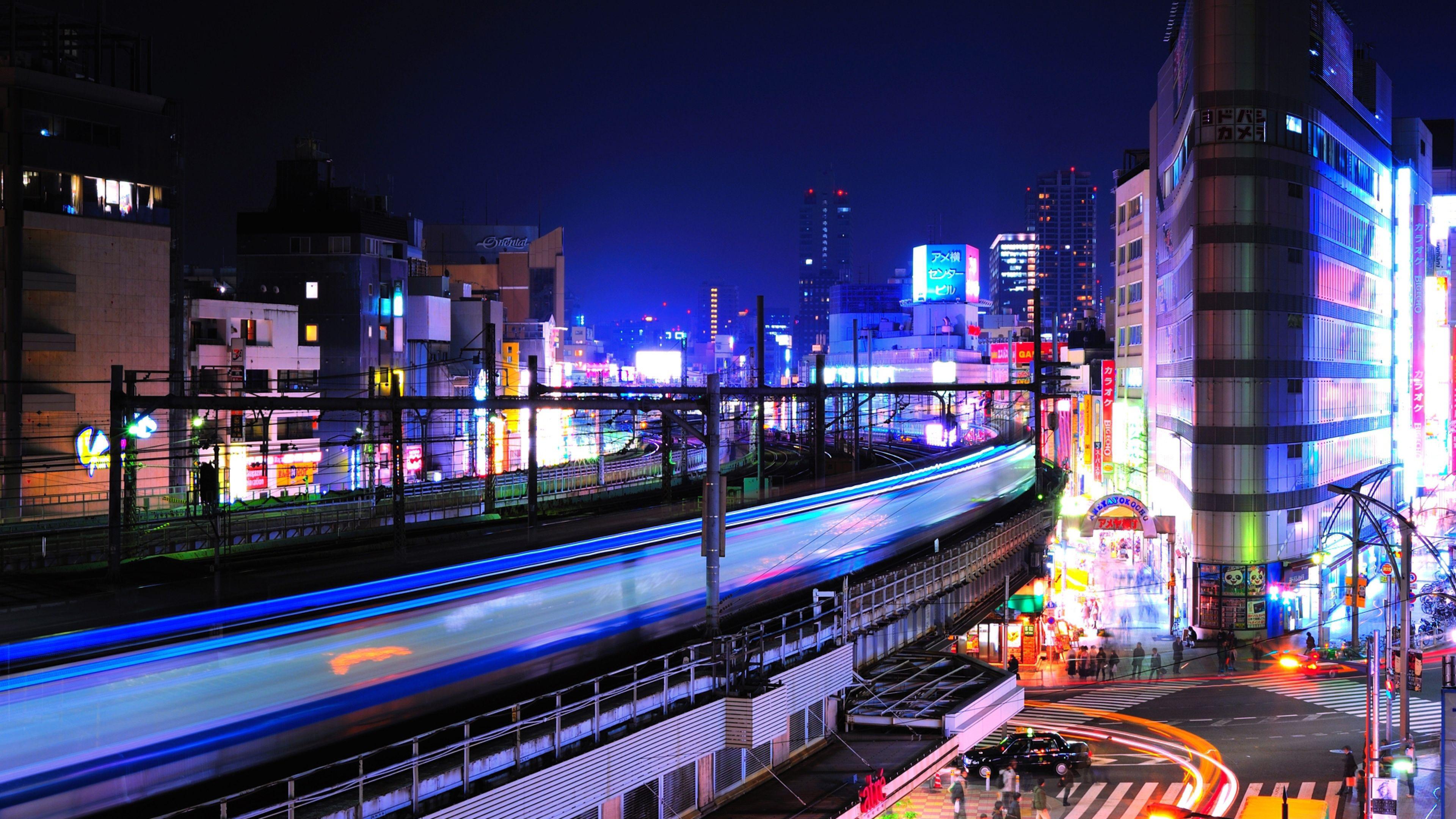 Download Wallpaper 3840x2160 Night Lights Buildings Railway Station Ueno Tokyo 4k Ultra Hd Hd Background Wallpaper 3840x2160 Pinterest