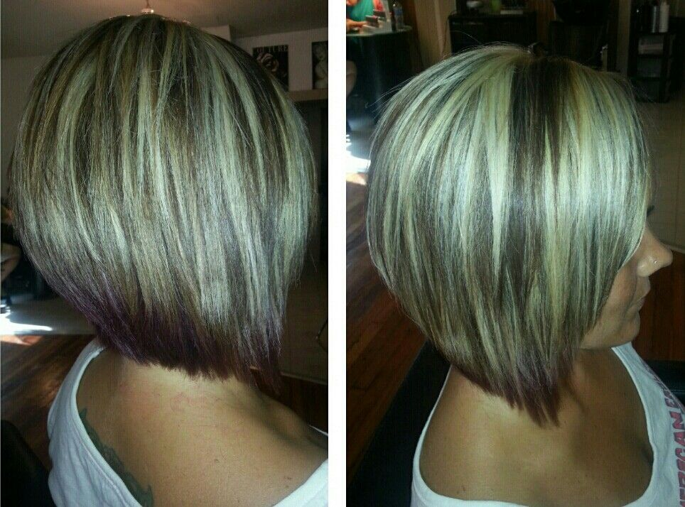 Hair Style Short Bob: Highlights Angled Bob