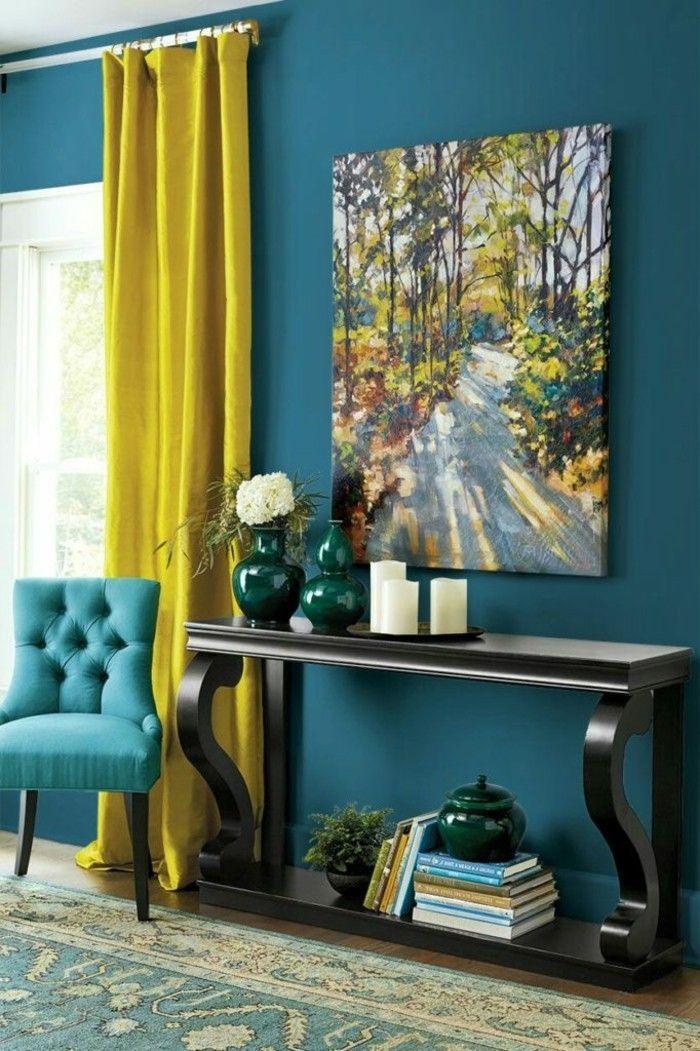 Wandfarbe Petrol   56 Ideen Für Mehr Farbe Im Interieur | Vorhang Ideen  Wohnzimmer / Stube | Pinterest | Wandfarbe, Wandfarbe Petrol Und Wohnzimmer
