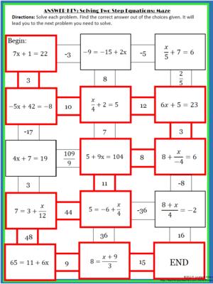 solving 2 step equations maze equation maze and maths. Black Bedroom Furniture Sets. Home Design Ideas
