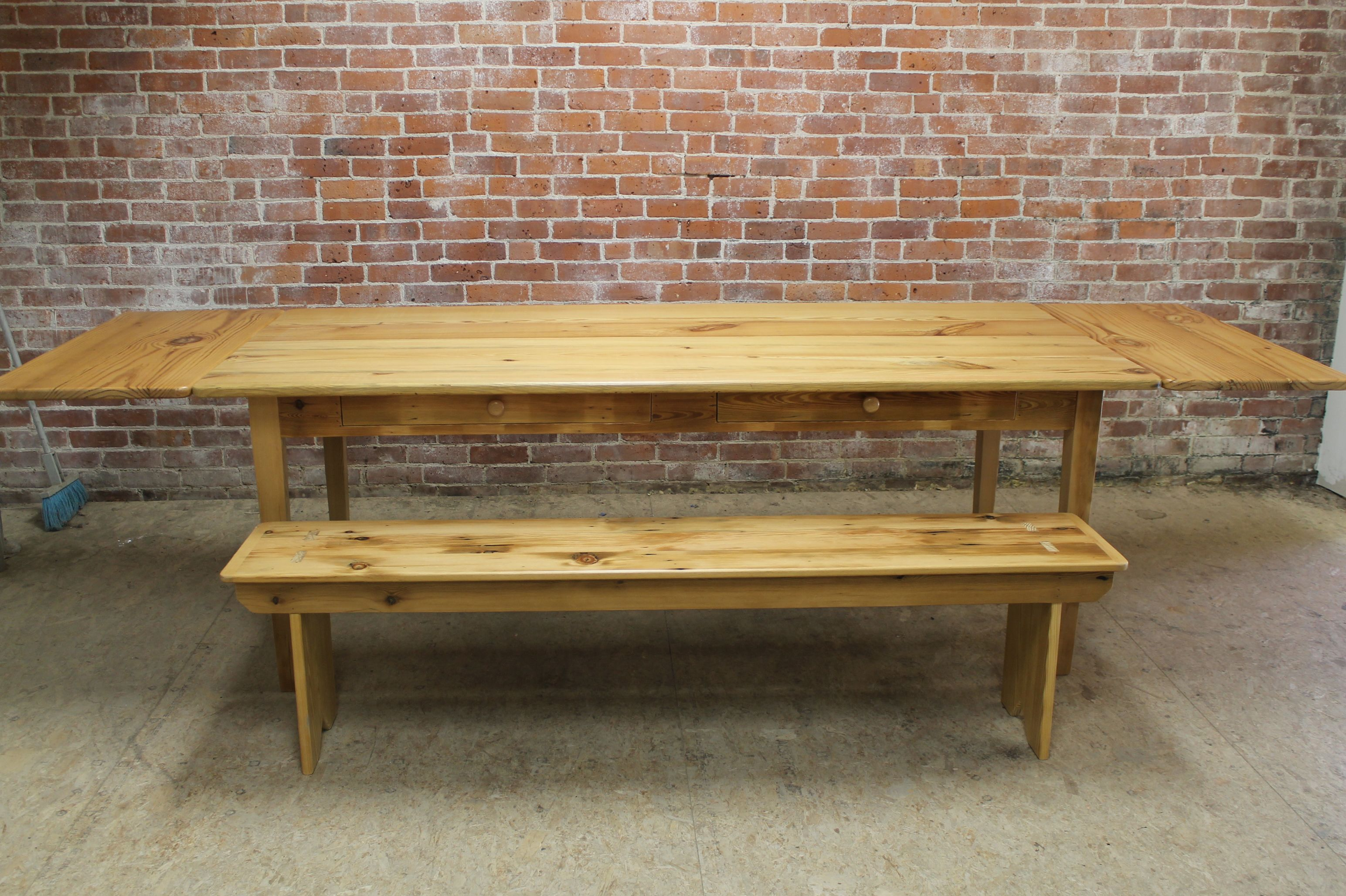 Classic Old Pine Table With Matching Bench1