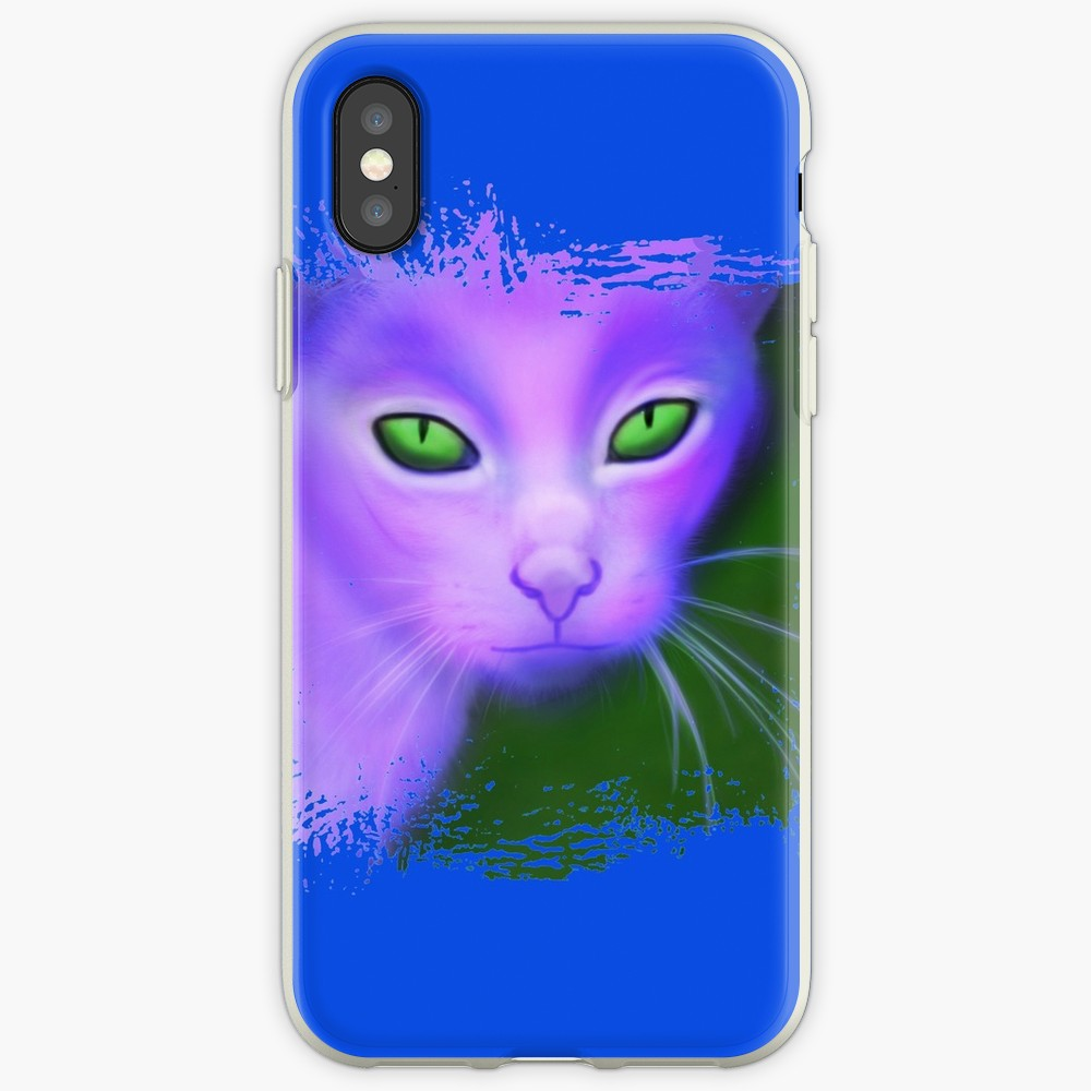 'psychedelic purple cat with glowing evil eyes digital