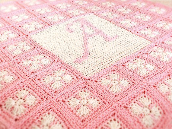 Crochet pattern baby blanket with name