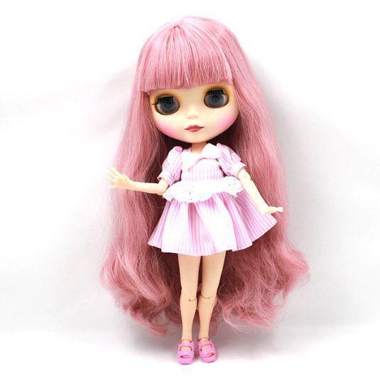 Takara 12 Nude Blythe Doll from Factory short pink hair