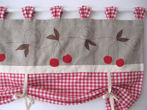 Rustic linen farmhouse tie up valance red cherry kitchen curtain window treatment country chic for Rideau lin cuisine